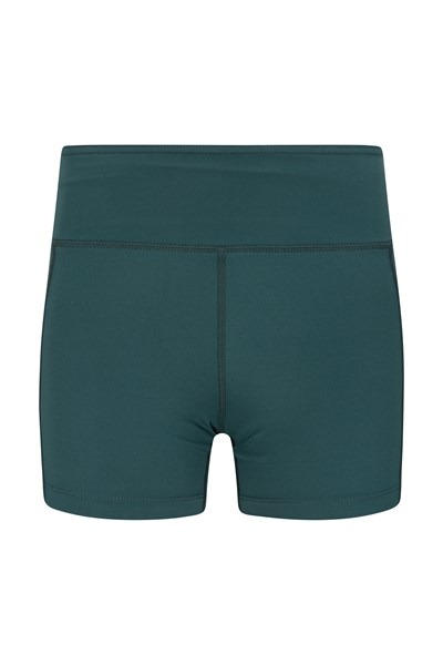 Zakti Womens Get The Message Yoga Short Shorts - Green