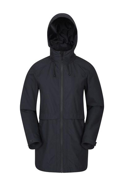Rain Drops Womens Waterproof Long Jacket - Black
