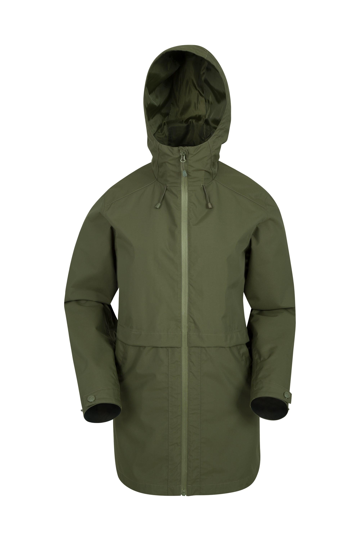 Rain Drops Womens Waterproof Long Jacket - Green