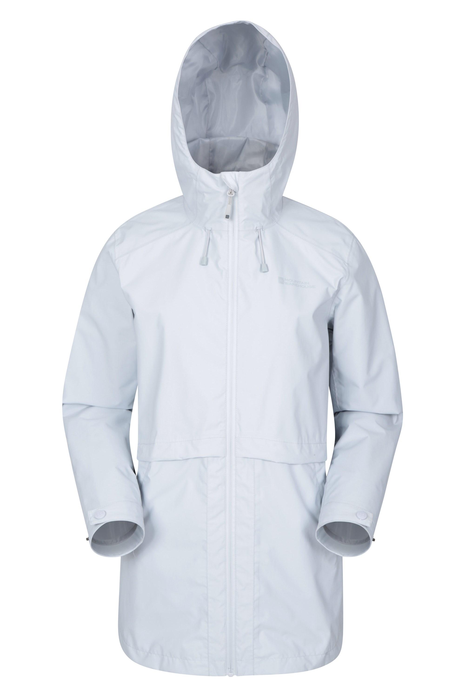 Rain Drops Womens Waterproof Long Jacket - Grey