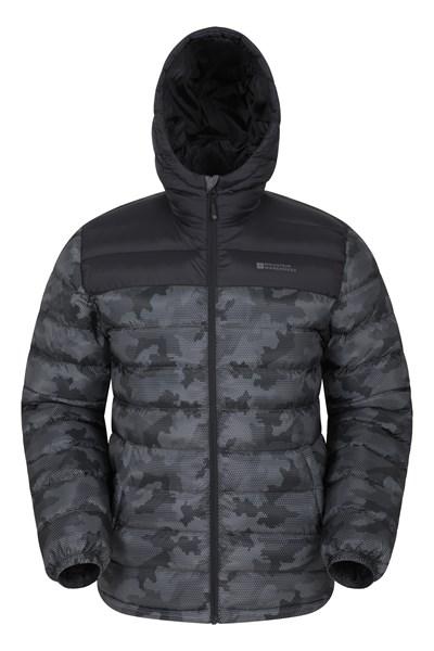Seasons Mens Printed Padded Jacket - Black