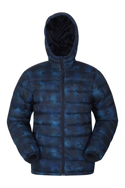 Seasons Mens Printed Padded Jacket - Blue