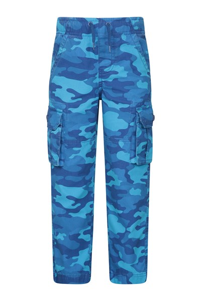 Kids Camo Cargo Trousers - Blue
