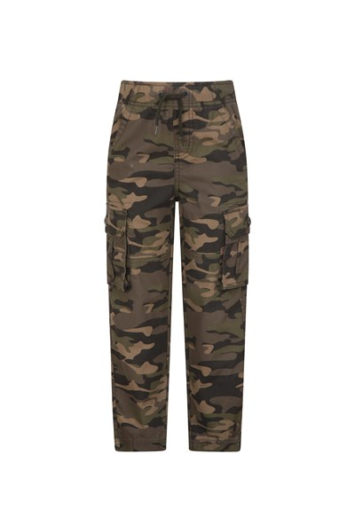 Kids Camo Cargo Trousers - Green