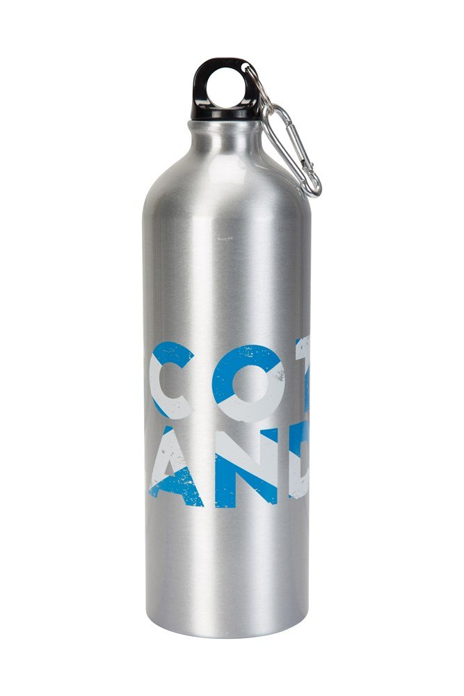 1l Scotland Metallic Bottle With Karabiner - Silver