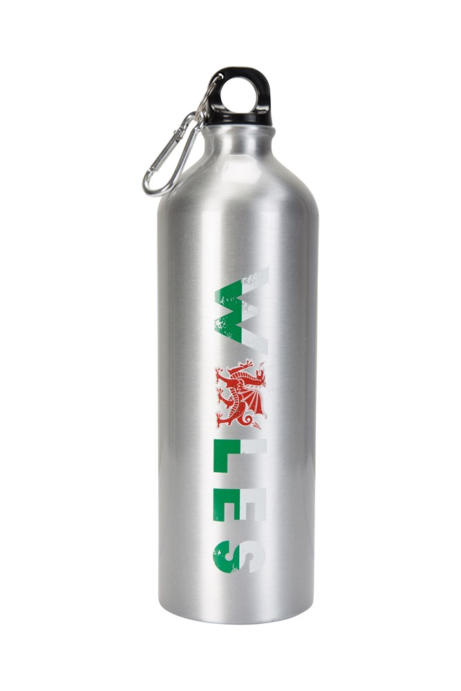 1l Wales Metallic Bottle With Karabiner - Silver