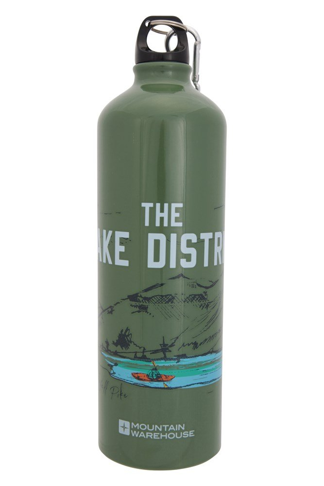 1l Lake District Metallic Bottle With Karabiner - Green