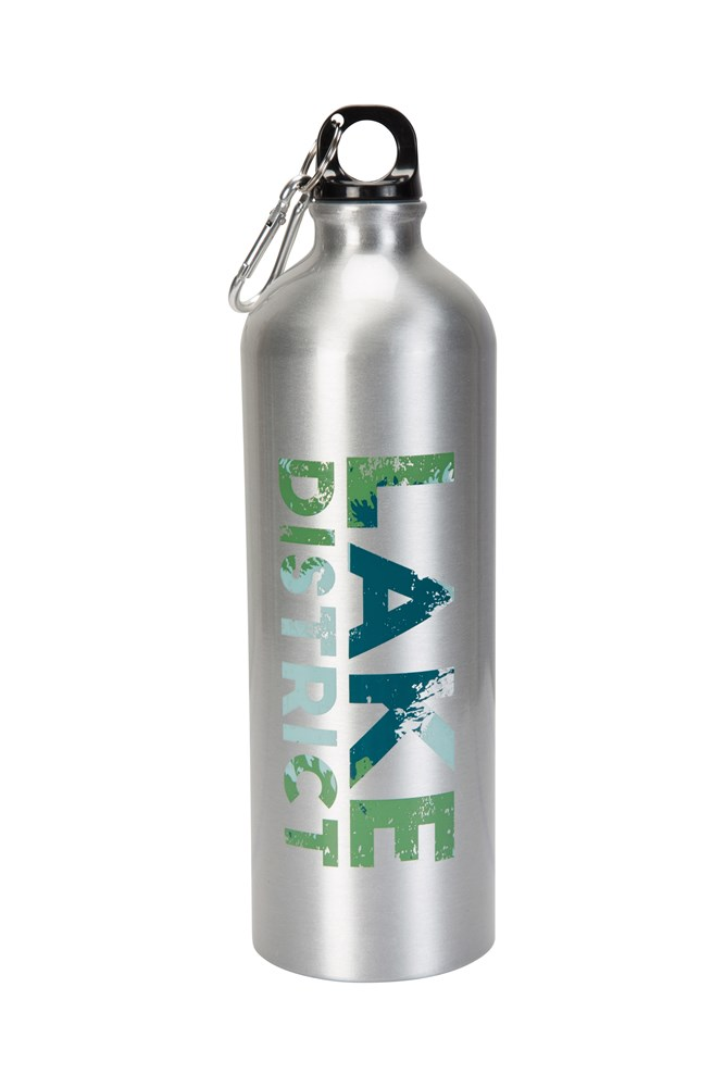 1l Lake District Metallic Bottle With Karabiner - Silver