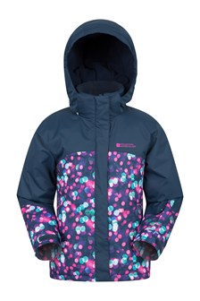 Night Light Kids Printed Ski Jacket  Navy