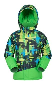 Downhill Kids Printed Ski Jacket  Lime