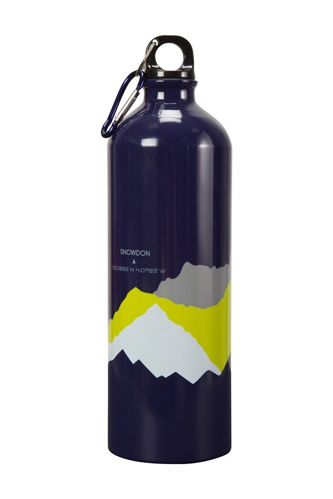 1L 3 Peaks Metallic Bottle With Karabiner - Navy