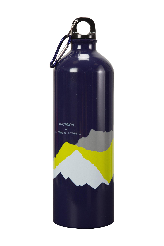 1L 3 Peaks Metallic Bottle With Karabiner - Navy