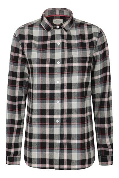 Balsam Womens Brushed Long Line Flannel Shirt - Black