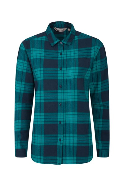 Balsam Womens Brushed Long Line Flannel Shirt - Green