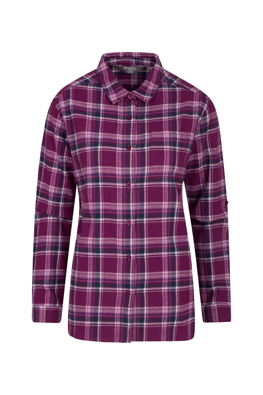 Balsam Womens Brushed Long Line Flannel Shirt - Purple