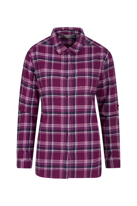 028184 BALSAM BRUSHED LONG LINE FLANNEL LS WOMENS SHIRT