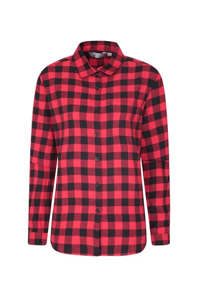 Balsam Womens Brushed Long Line Flannel Shirt - Red