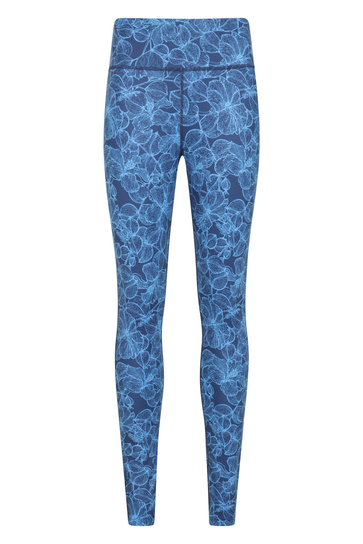 Patterned High Rise - legginsy damskie - Blue