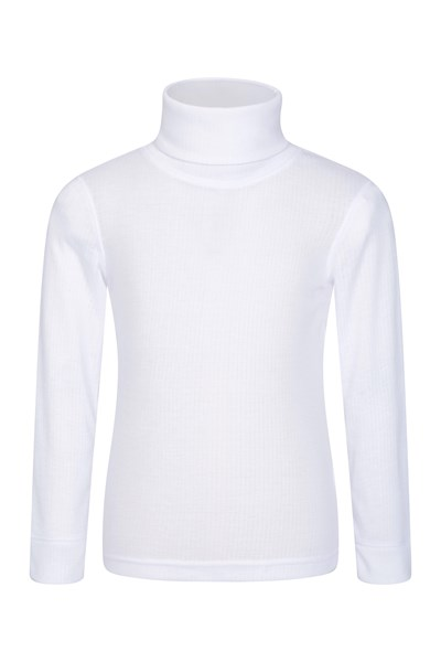 Talus Kids Roll Neck Top - White