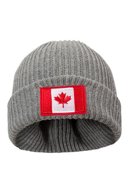 b8a654fdf82d7 Canada Flag Mens Beanie - Grey