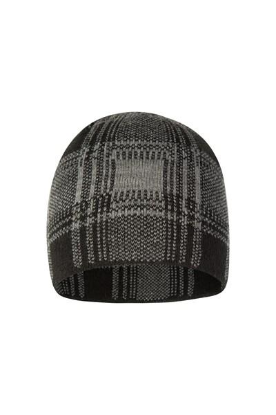 Checker Mens Beanie - Grey