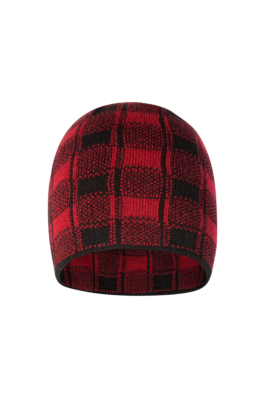 Checker Mens Beanie - Red