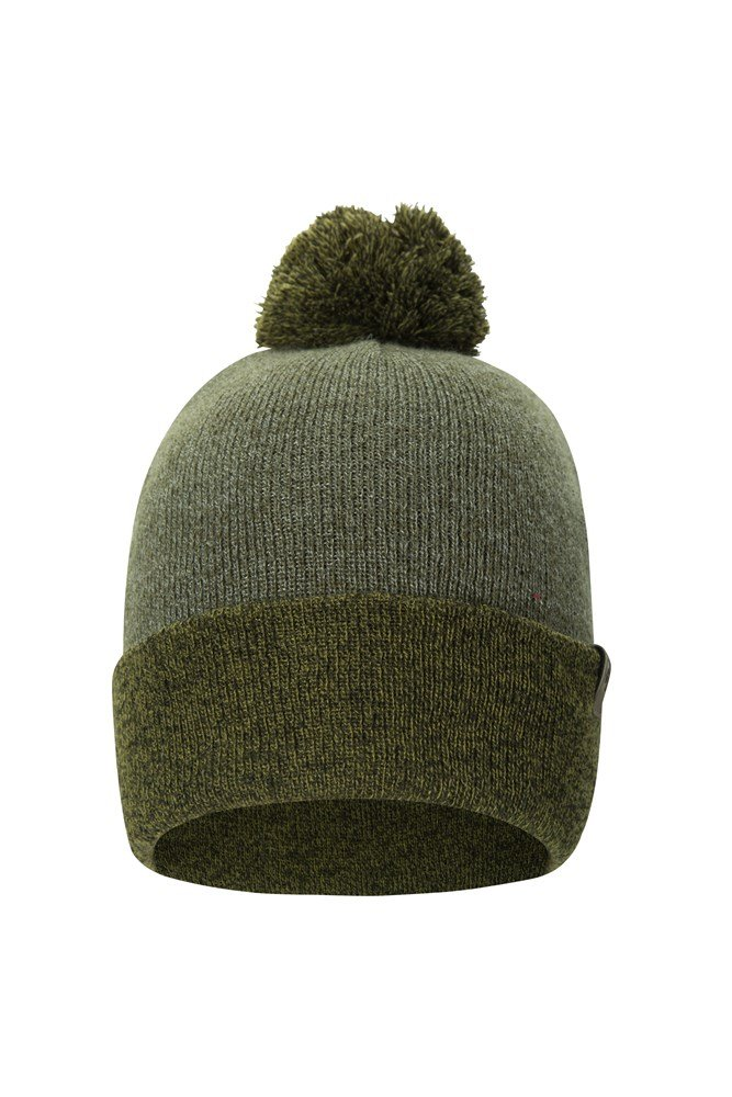 Compass Two Tone Bobble Mens Beanie - Green
