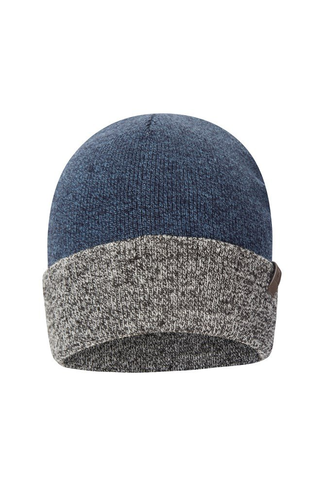 Compass Two Tone Mens Beanie - Navy