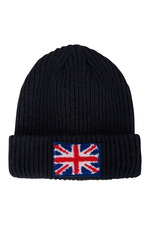UK Flag Mens Beanie - Navy
