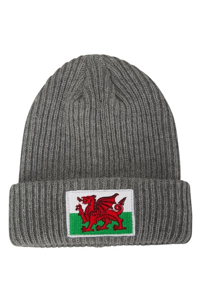 Welsh Flag Mens Beanie - Grey