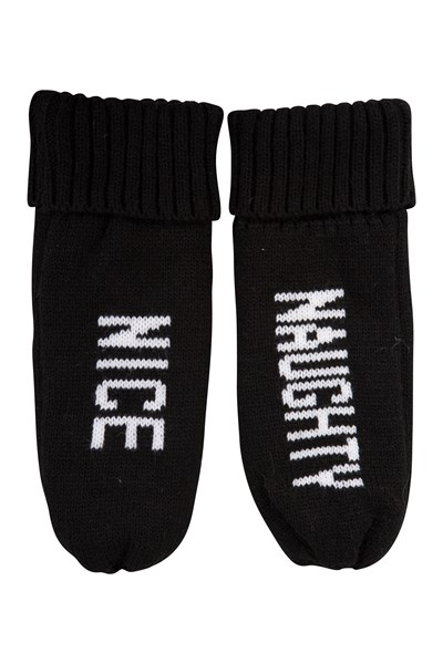 Naughty Or Nice Lined Womens Mittens - Black