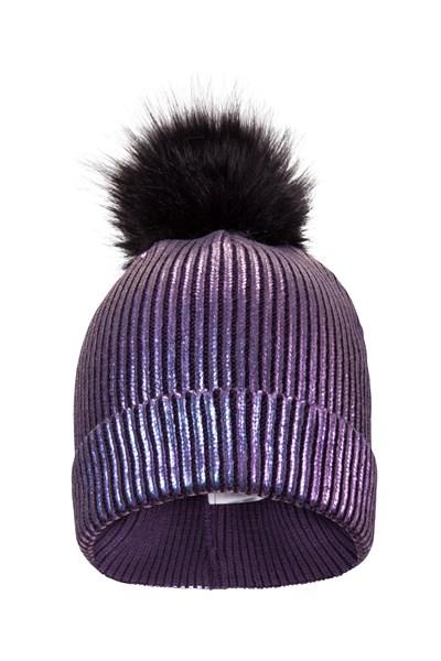 Metallic Stripe Womens Pom Pom Beanie - Purple