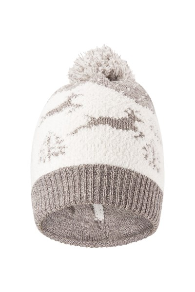 Snow Globe Womens Christmas Pom Beanie - Grey