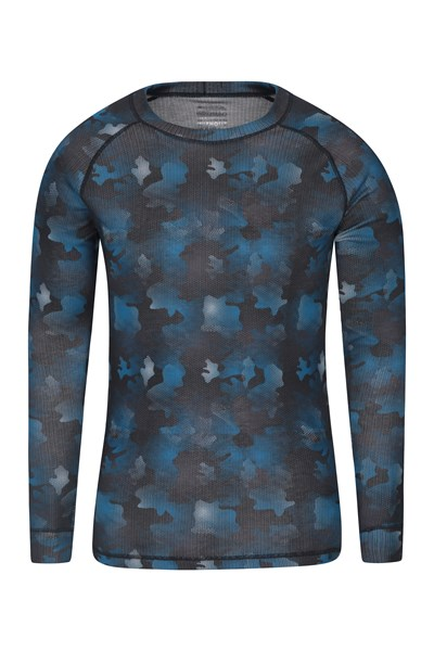 Talus Mens Printed Round Neck Top - Blue