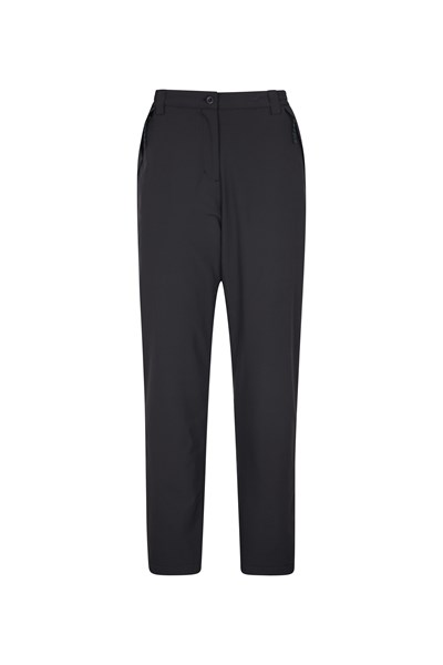 Arctic Fleece Lined Womens Stretch Trousers - Short Length - Black