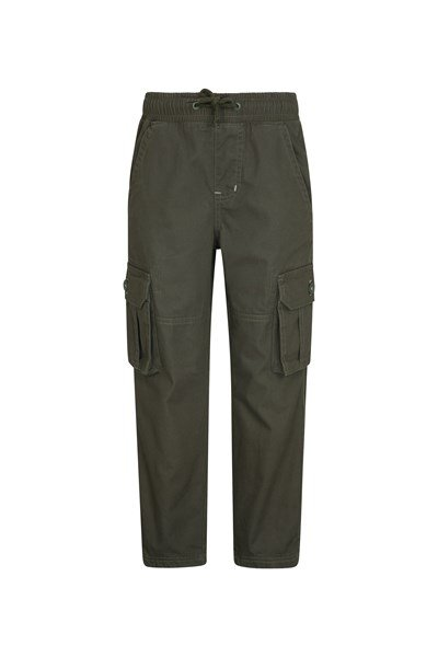 Pull Up Kids Jersey Lined Cargo Trousers - Green