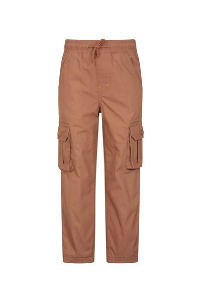 Pull Up Kids Jersey Lined Cargo Trousers - Orange