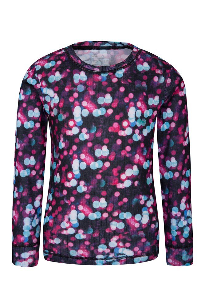 Talus Printed Kids Round Neck Base Layer Top - Pink
