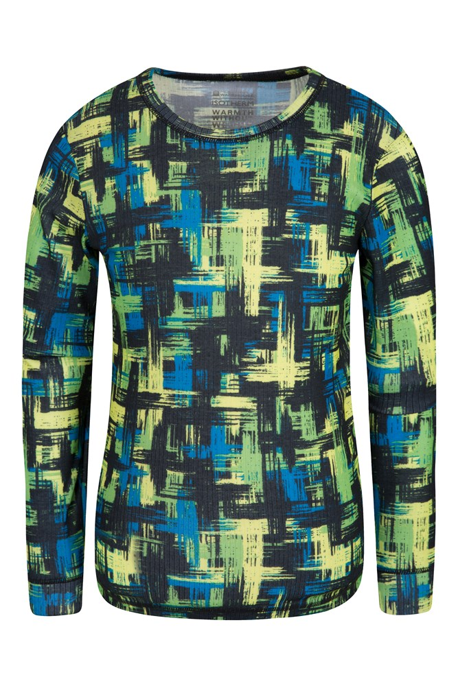 Talus Printed Kids Round Neck Base Layer Top - Green