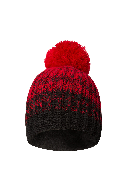 Geneva Melange Fleece Lined Womens Beanie - Red