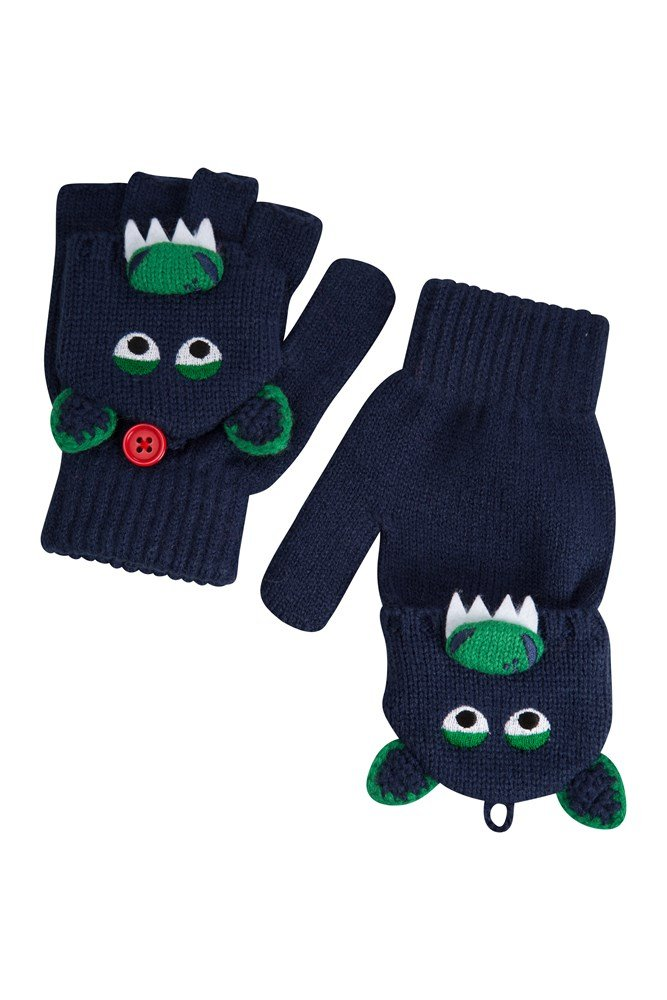 Dragon Kids Knitted Gloves - Green