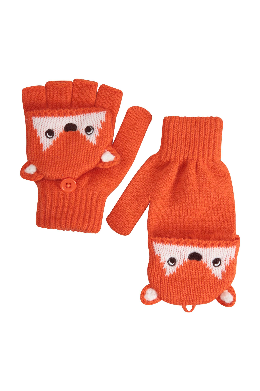 Fox Knitted Kids Gloves - Orange