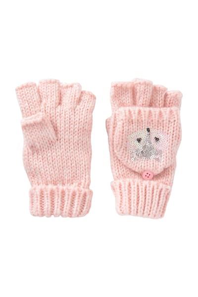 Fox Knitted Kids Gloves - Pink