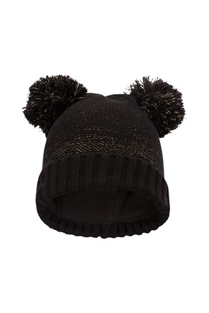 Double Pom Pom Kids Knitted Hat