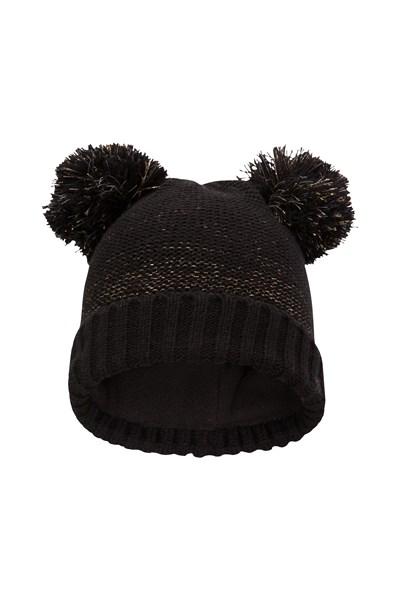 Double Pom Pom Kids Knitted Hat - Black