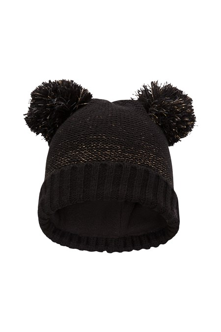 Double Pom Pom Kids Knitted Hat - Black dc82ea64515