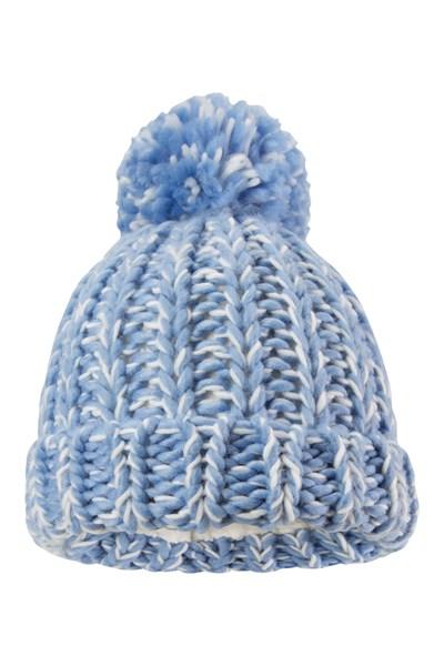Chunky Knitted Kids Beanie - Blue