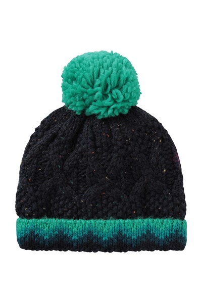 Fur Lined Kids Cable Knitted Beanie - Green