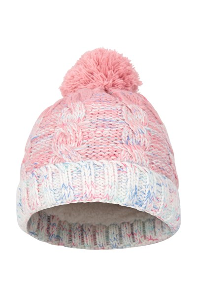 Fur Lined Kids Cable Knitted Beanie - Light Pink