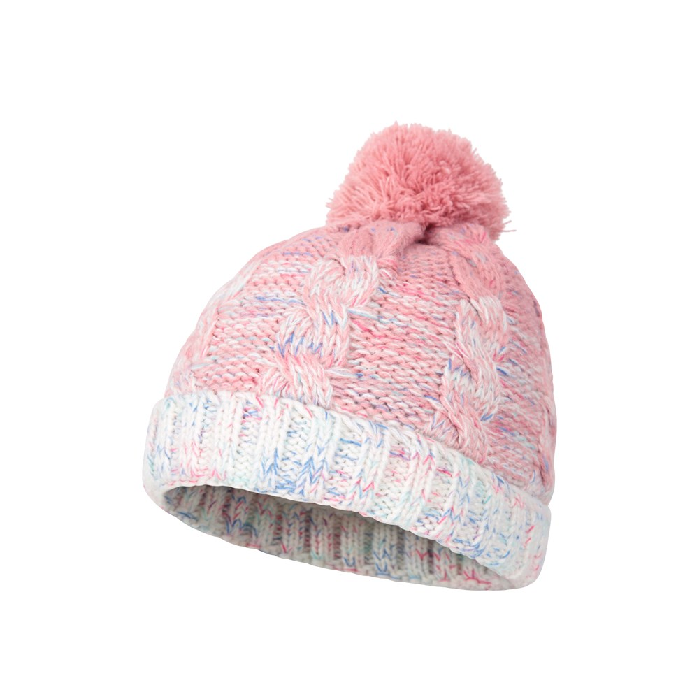 Mountain Warehouse Cable Kids Knitted Beanie Hat with Faux Fur Lining